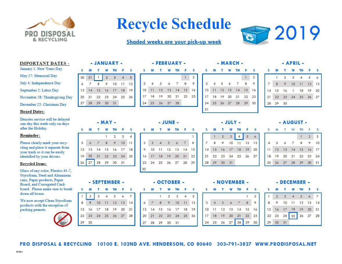 2018 Even Recycling Schedule