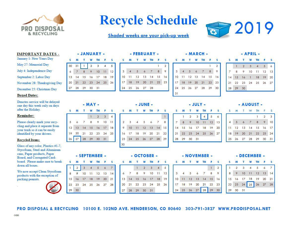 2018 Odd Recycling Schedule